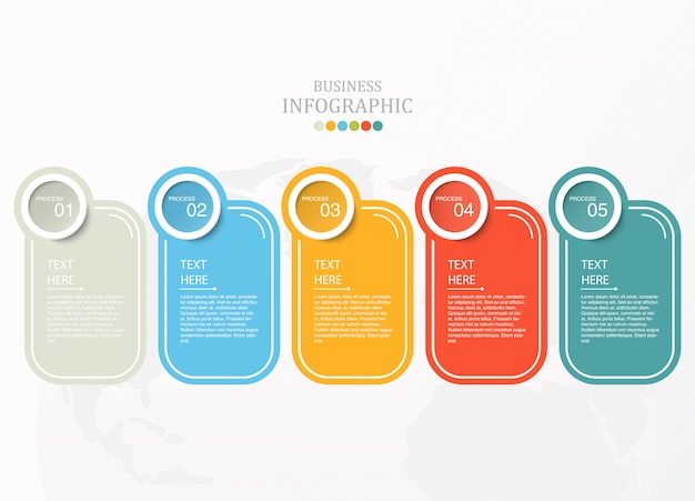 Infografía de papel e iconos para el concepto de negocio.