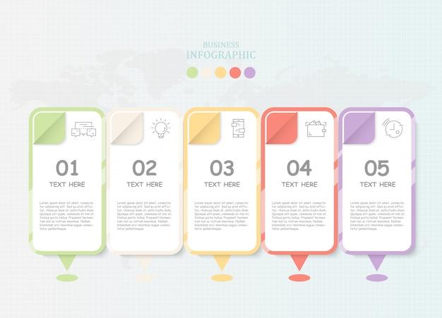 Infografía de papel moderna e iconos para el concepto de negocio actual.