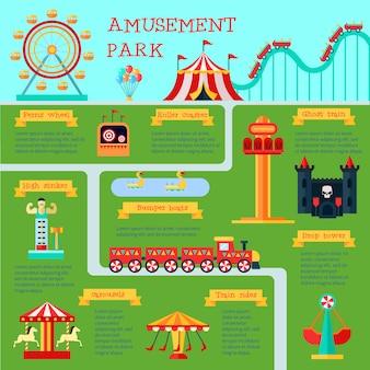 Infografía del parque de atracciones con símbolos de diversión familiar