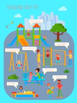 Infografía de parque infantil.