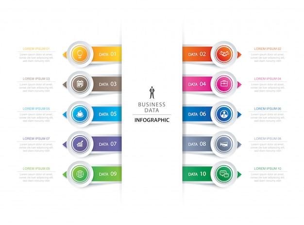 Infografía de paso de pestaña de 10 círculos con plantilla de línea de tiempo abstracta.