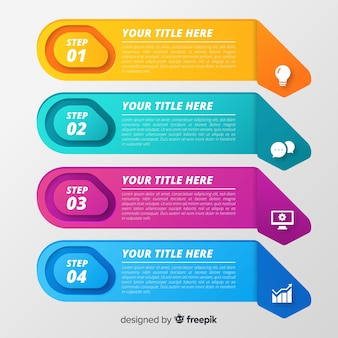 Infografía de pasos en color degradado