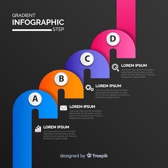Infografía de pasos en colores degradados