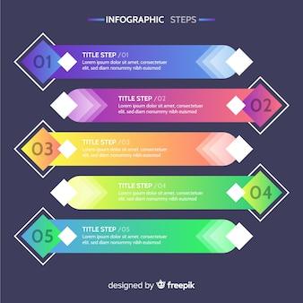 Infografía por pasos con degradado
