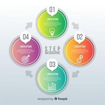 Infografía de pasos en degradado