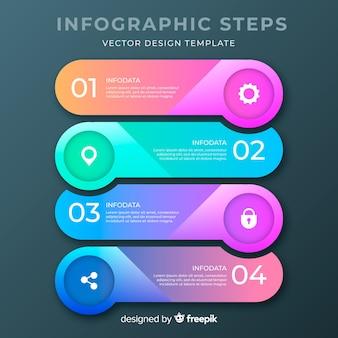 Infografía de pasos con degradado