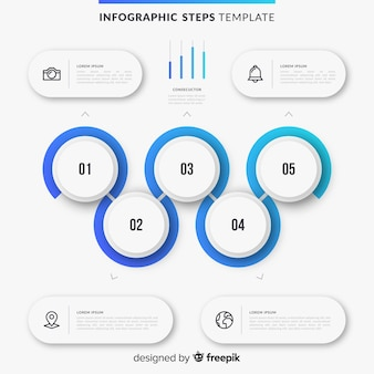 Infografia de pasos con degradado