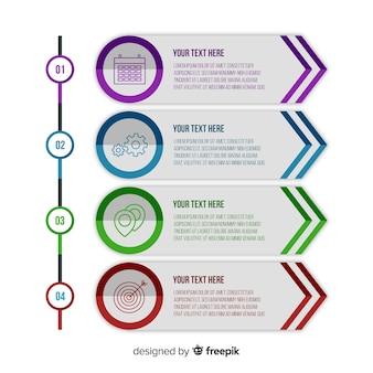Infografía de pasos en diseño plano