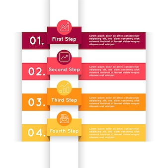 Infografía de pasos de diseño plano