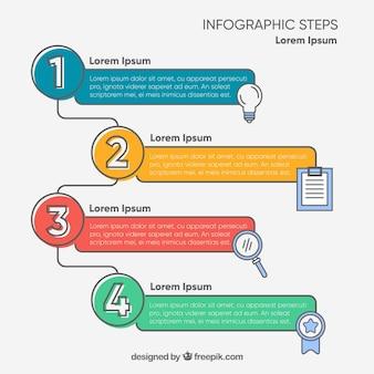 Infografía con pasos con estilo de dibujo a mano