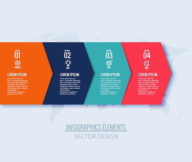 Infografía pasos flecha concepto creativo diseño de banner