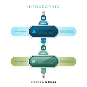 Infografía de pasos modernos.