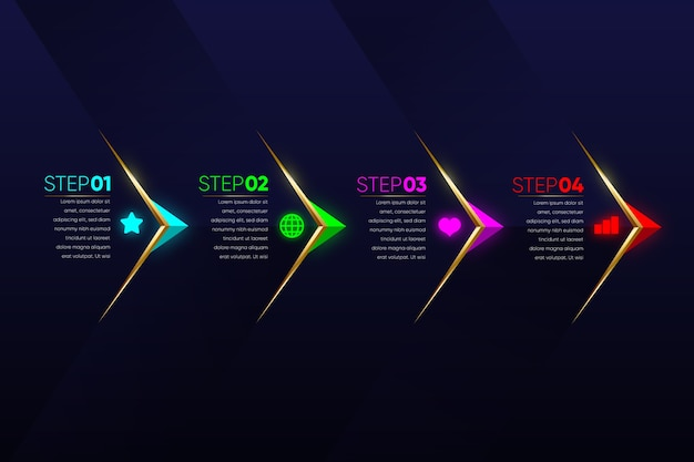 Infografía de pasos multicolores