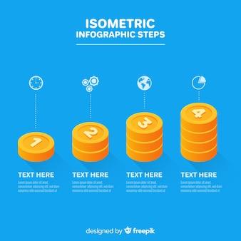 Infografía con pasos y opciones en isométrico