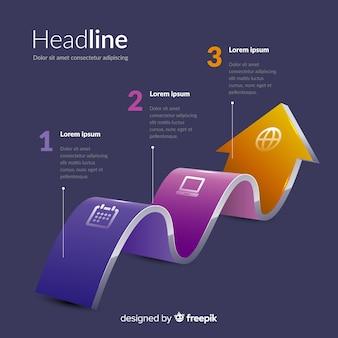 Infografía pasos plantilla diseño isométrico