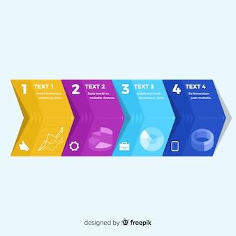 Infografía pasos plantilla diseño plano