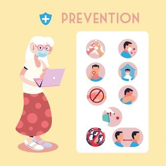 Infografía con pasos preventivos para la protección del coronavirus