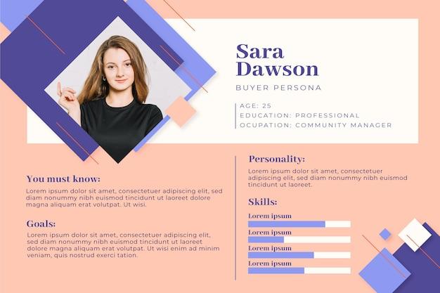 Infografía de la persona del comprador con foto.