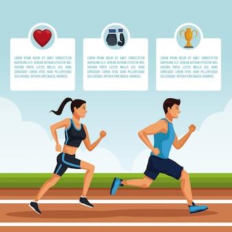 Infografía de personas y atletismo