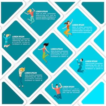 Infografía de personas saltando