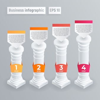 Infografía del pilar. isométrico de infografía vector pilar para diseño web