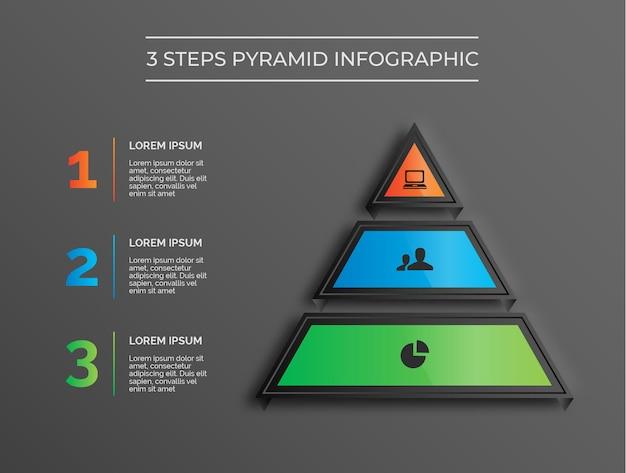 Infografía de pirámide moderna de 3 pasos de tema oscuro vector premium
