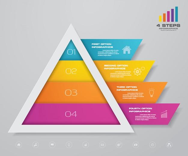 Infografía de pirámide con plantilla de texto en cada nivel.