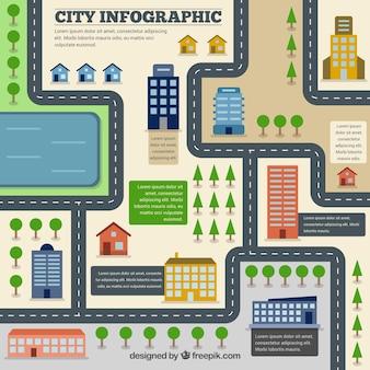 Infografía plana de carretera de ciudad
