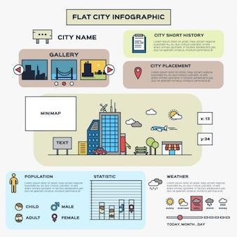 Infografía plana de ciudad