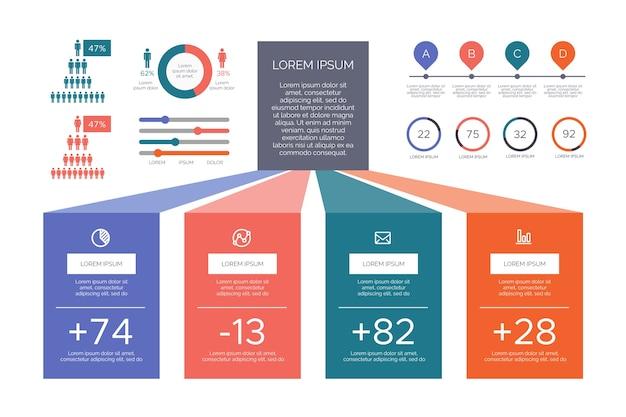 Infografía plana colores retro