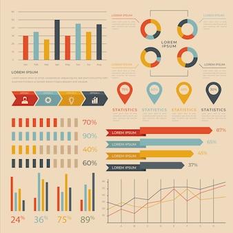 Infografía plana con colores retro.