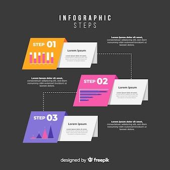 Infografía plana degradada con pasos