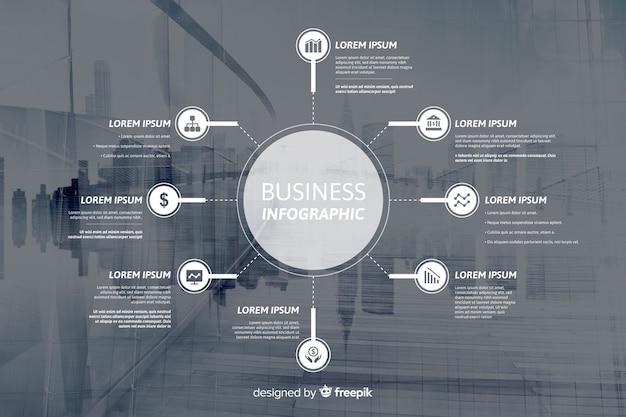 Infografía plana de negocios con foto.