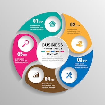 Infografía plantilla 6 opciones con círculo. visualización de datos e información.