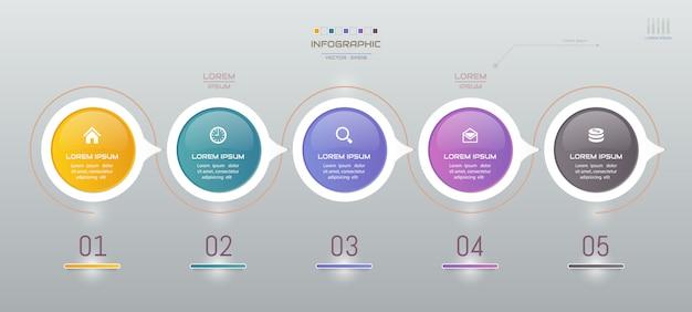 Infografía con plantilla de cinco pasos con iconos