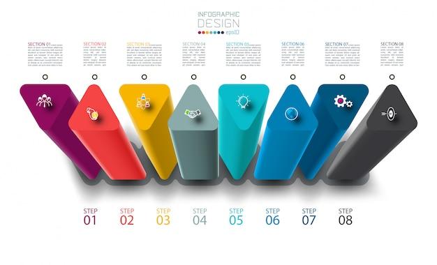 Infografía con plantilla de columnas triangulares