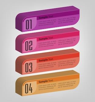 Infografía de plantilla de cuadro de texto 3d moderno