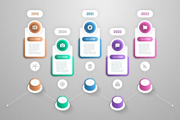 Infografía de plantilla de degradado de línea de tiempo