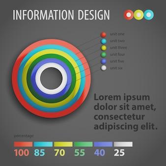 Infografía de plantilla de diagrama redondo de negocios de diseño plano con campo de texto