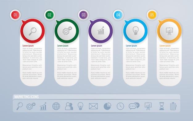 Infografía, plantilla, diseño, y, comercialización, iconos, vector