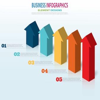 Infografía plantilla empresarial pasos de flecha 3d para presentación, pronóstico de venta