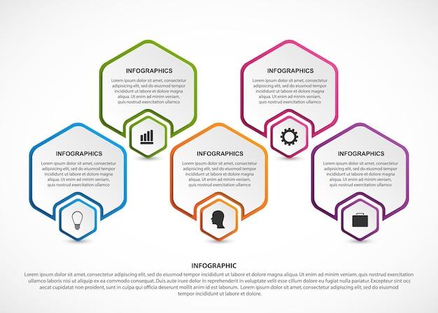 Infografía de plantilla de infografías de opciones abstractas