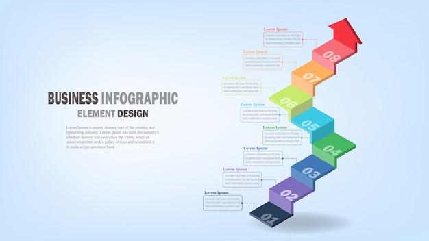 Infografía plantilla de negocios escaleras 3d