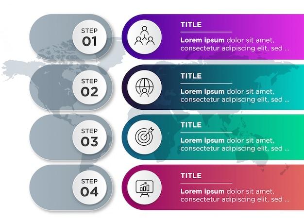 Infografía de plantilla con pasos y mapa