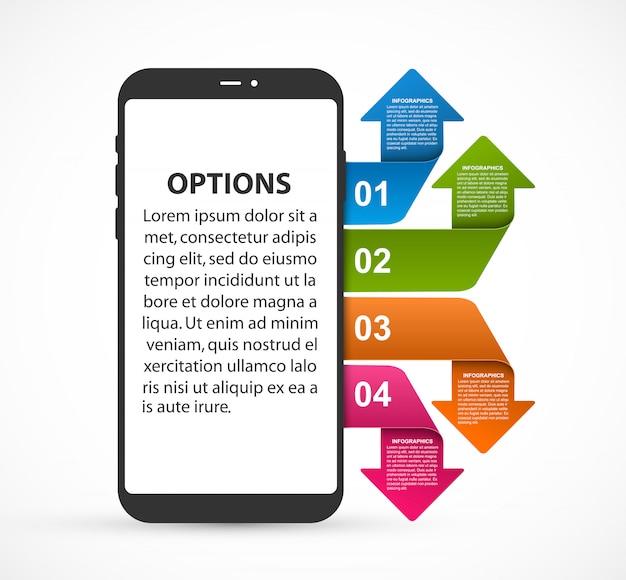 Infografía de plantilla que representa un teléfono móvil con flechas de colores.