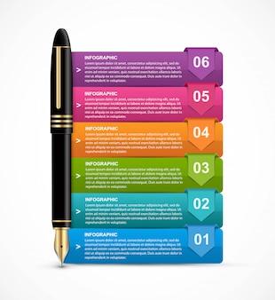 Infografía con pluma de tinta para presentaciones.