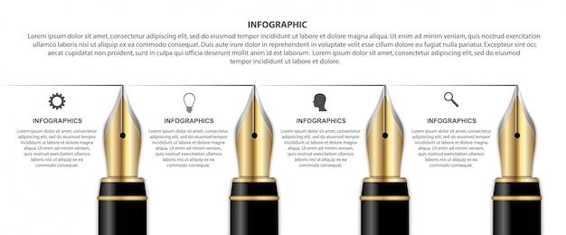 Infografía con pluma de tinta.