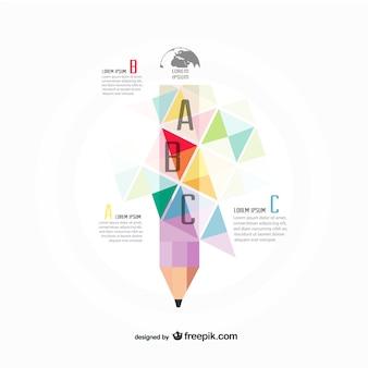 Infografía poligonal de lápiz