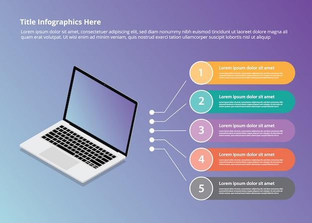 Infografía de portátil con estilo isométrico y balas de 5 puntos.