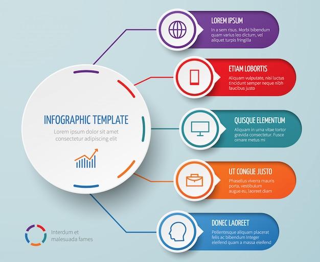 Infografía para presentación de negocios con elementos circulares y opciones vector plantilla